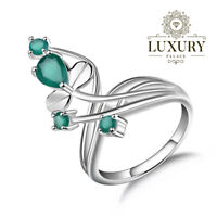 Natural 0.97Ct Green Agate Gemstone Solid 925 Sterling Silver Flower Bunch Ring