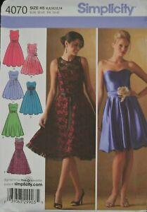 Simplicity 4070 Size H5 6-14 Misses' Miss Petite Dresses w/ Bodice & Skirt Var.