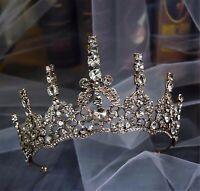 Women Girl Retro Red Bronze crystal Rhinestone Party Hair Headband Crown Tiara