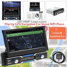 "1 DIN 7"" Andriod 8.1 HD 12V Flip Up GPS Navi Car Stereo MP5 Player Radio BT"
