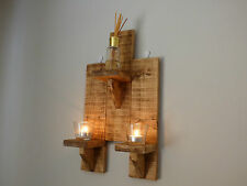 Wooden wall Candle Holders Sconce Triple Unit Rustic Handmade