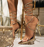 Cape Robbin Nobu Gold Clear Strap Pointed Toe Tie Up Stiletto Single Sole Sandal