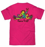 Peace Frogs Hot Pink Rainbow Frog Mens Unisex Womens Shirt