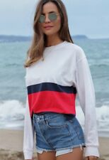 New! brandy Melville white/red/navy striped long sleeve acacia top S/M