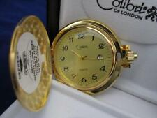COLIBRI Gold FACE GOLD TONE POCKET WATCH ENGRAVABLE WITH DATE