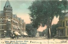 1905 Rockland Massachusetts Union Street Estes hand colored postcard 10847