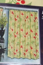 """Christmas Holly Holiday cloth Fabric Shower Curtain 70"""" x 72"""" polyester yellow"""