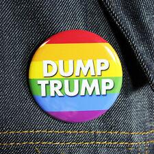 Dump Trump - Rainbow Flag | Pinback  Button Anti Trump Drumpf LGBT
