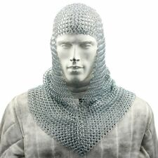 Genuine Battle Ready Chain Mail Coif Chainmail armor Helmet Medieval Cosplay HG