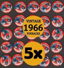 5x Vintage 1966 BATMAN & ROBIN I'M A BATMAN CRIMEFIGHTER Pinback Buttons