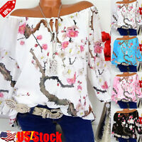 Women's Blouse Plus Size Tops Long Sleeve Off Shoulder Casual Floral Print Shirt
