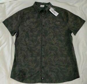 Mooks Mens Short Sleeve Button Up Shirt Size XL Leaf Print Khaki *BNWT*
