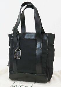 Authentic GUCCI Black Nylon and Leather Small Tote Hand Bag Purse #39533