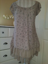 """MINE"" Light Brown Floral Lace & Ruffles Short Swing Dress Juniors Size Medium"