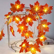 2M LED Lighted Fall Autumn Maple Leaves Garland Halloween Xmas Party Decor