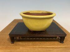 Yellow Round Glazed Shohin Size Tokoname Bonsai Tree Pot By Yozan 3 3/4�