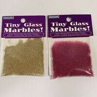 Lot of 2 Tiny Glass Marbles Micro Beads Purple Transparent & Metallic Gold NEW