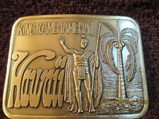 "Vintage 1970s ""KING KAMEHAMEHA 1 HAWAII"" Commemorative Brass Plated Belt Buckle"