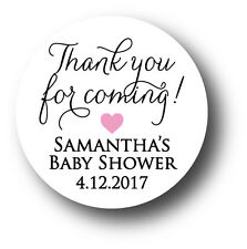 30 Baby Shower Personalized Stickers - Thank you for coming! with heart