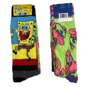 SPONGEBOB Socks - 2 PAIRS 🧦🧦 Size 6-12 - Squarepants Nickelodeon + PATRICK