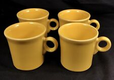 "Lot of 4 HLC Fiesta Tom & Jerry Mug Cup Ring Handle Yellow Fiestaware 3.5"" Dia"