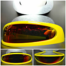 SPACE ROBOT PARTY RAVE COSTUME CYCLOPS FUTURISTIC THIN SHIELD SUN GLASSES Yellow