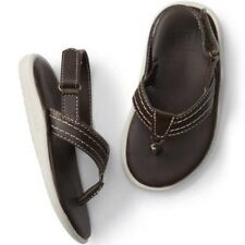 Gap Baby Boy / Toddler Flip Flop Sandals / Faux Leather Brown Size 7T/ 8T NWT