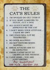 US Seller- The Cat's Rules country barn pet tin metal sign modern art posters