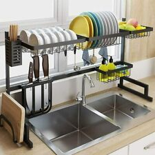 Over The Sink Dish Drying Rack Shelf Stainless Steel Kitchen Cutlery Holder HOT