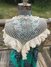 Vintage Off White Crochet Shawl Scarf Wrap 3 Tiers Hand Made Hippie Boho