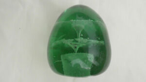 EARLY VICTORIAN GREEN GLASS DUMP / PAPERWEIGHT IN THE FORM OF FLOWERS #3