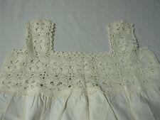 "Antique Linen Ladies Nightgown w Pinwheel Crochet Top & Bottom Edge 38"""