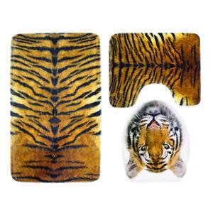 3 Pieces Flannel Tiger Print Toilet Lid Cover Non-Slip Bathmat Bathroom Rug