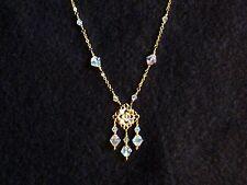 "Necklace/Pendant - Austrian AB Crystal & Gold plated 18"" - Formal/Wedding/Bridal"