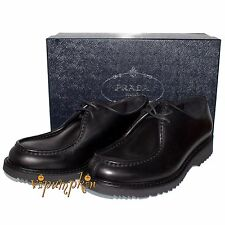 $820 PRADA VITELLO RODEO BLACK LEATHER LACED DERBY SHOES 2EE180 NEW 9 UK 10 US
