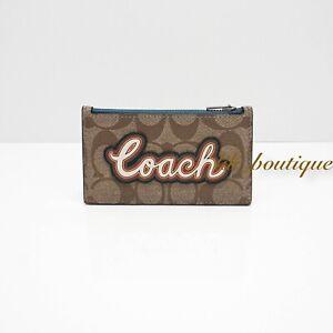 NWT Coach F76866 Men's Zip Card Case Wallet PVC Signature Patch Tan White Multi