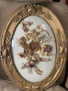 Superb Oval Antique Victorian Dried Floral Arrangement In Gold Tone Frame