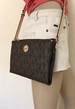 NWT Michael Kors Brown Fulton Large Crossbody PVC Handbag MK Signature Bag