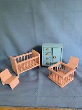 Vintage Wood Dollhouse Furniture Germany Pink Baby Nursery Crib Play Pen Dresser