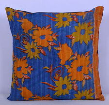 "24"" KANTHA INDIAN CUSHION PILLOW THROW COVER HANDMADE Embroidered Indian Decor"