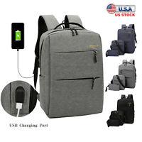 3pcs Canvas Backpack Men Boys Girls Women School Travel Shoulder Bag Rucksack