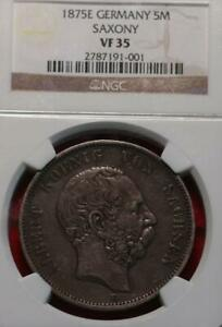 1875E Germany Saxony 5 Mark Silver Foreign Coin NGC Graded VF 35