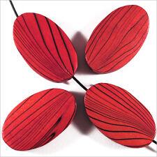 Lot de 4 Perles en Bois Ovales plates 20 x 33 mm Rouge avec Motif Zébré