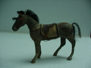 """Antique German Horse Toy Paper Mache? 4.5""""X6"""" Size Very Early"""