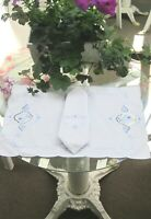 Vintage Placemats w/Napkins (set of 8) Hand Embroidered White w/Blue Stitching