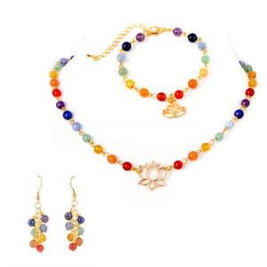 7 Chakra Gemstone Lotus Gold Tone Set, Necklace, Bracelet, Earrings