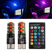 Multi-Color RGB LED Bulbs w/RF Remote Control For Car Parking Lamp Lights xvz
