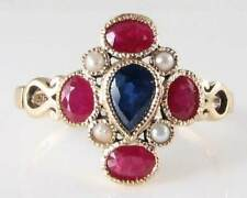 ENGLISH 9K GOLD DECO INS SAPPHIRE RUBY & PEARL RING