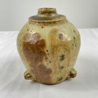 Vintage Studio Art Pottery Vase 1960s 1970s Earthen Stoneware Handmade Earth