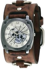 Nemesis BFRB931S Men's Web of Skulls Wide Brown Leather Cuff Band Watch